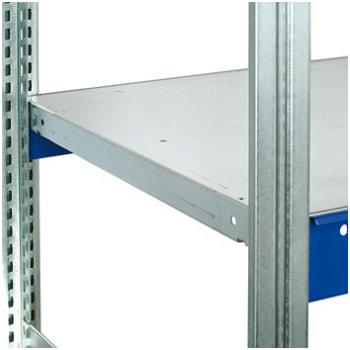 Verzinkter Stahlfachboden mit 40 mm Rohrkante.
