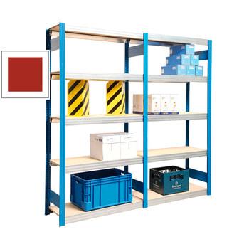 Beispielabbildung Grundregal mit Anbauregal, hier mit Rahmen in enzianblau (RAL 5010), den Lieferumfang entnehmen Sie bitte der Artikelbeschreibung
