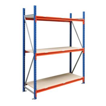 Beispielabbildung Weitspannregal mit Holzeinlage: hier als Grundregal mit 3 Fachebenen