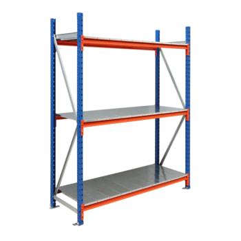 Beispielabbildung Weitspannregal mit Stahleinlage: hier als Grundregal mit 3 Fachebenen