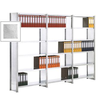 Beispielabbildung Büroregal mit Seitenwänden, hier in der verzinkten Ausführung mit 6 Ebenen, Grundregal und 2 Anbauregale (den Lieferumfang entnehmen Sie bitte der Artikelbeschreibung)