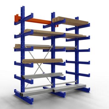 Doppelseitiges Kragarmregal, Schwerlastregal - 2.500 x 1.000 x 500 (HxBxT) - 500 kg