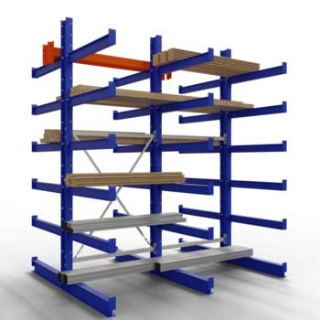 Doppelseitiges Kragarmregal, Schwerlastregal - 2.500 x 1.000 x 800 (HxBxT) - 500 kg
