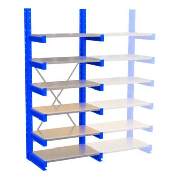 Kragarmregal, Schwerlastregal - 2.500 x 1.000 x 600 (HxBxT) - 500 kg - mit Fachböden