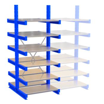 Doppelseitiges Kragarmregal, Schwerlastregal - 2.500 x 1.000 x 600 (HxBxT) - 500 kg - mit Fachböden