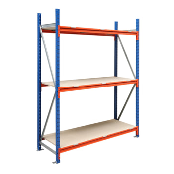 Weitspannregal EMMA - 3.000 x 1.850 x 1.000 mm (HxBxT) - Feldlast 7.500 kg - Holzböden - Schwerlastregal