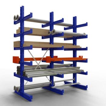 Doppelseitiges Kragarmregal, Schwerlastregal - 2.500 x 1.000 x 500 (HxBxT) - 750 kg