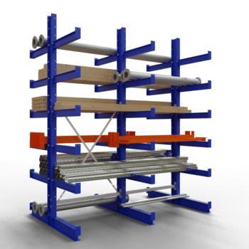 Doppelseitiges Kragarmregal, Schwerlastregal - 2.500 x 1.000 x 600 (HxBxT) - 750 kg