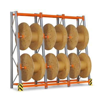 Kabeltrommelregal, Grund- oder Anbauregal, für 2 Kabeltrommeln, Höhe 2.500 mm, Feldbreite wählbar, Trommelregal, Trommelabspulregal, Trapezregal