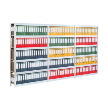 Archivregal mit Holzböden - Tiefenriegel - 7 Ebenen - 250 kg - 2.500 x 1.285 x 300 mm (HxBxT) - erweiterbar - verzinkt - Steckregal BERT
