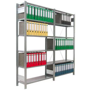 Ordnerregal - Aktenregal - 80 kg - 2.325 x 1.005 x 300 mm (HxBxT) - erweiterbar - verzinkt - 7 Böden/6 Ordnerebenen - Steckregal - BERT