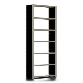 Beispielabbildung Büroregal mit Seitenwänden, hier das Grundregal in Lichtgrau (RAL 7035), mit 6 Fachböden (den Lieferumfang entnehmen Sie bitte der Artikelbeschreibung)
