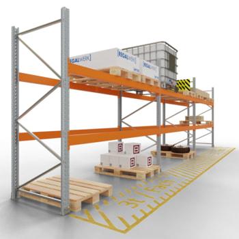Palettenregal ARTUS - 2 Ebenen - Fachlast 3.000 kg - Höhe 2.500 mm - 2.700 x 1.100 mm (BxT) - Schwerlastregal - Anzahl Felder wählbar