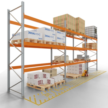 Palettenregal ARTUS - 3 Ebenen - Fachlast 3.000 kg - Höhe 3.500 mm - 2.700 x 1.100 mm (BxT) - Schwerlastregal - Anzahl Felder wählbar