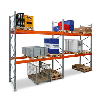 Palettenregal ARTUS - 2 Ebenen - Fachlast 3.000 kg - Höhe 5.500 mm - 2.700 x 1.100 mm (BxT) - Schwerlastregal - Anzahl Felder wählbar