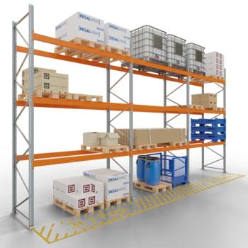 Palettenregal ARTUS - 3 Ebenen - Fachlast 3.000 kg - Höhe 4.500 mm - 2.700 x 1.100 mm (BxT) - Schwerlastregal - Anzahl Felder wählbar