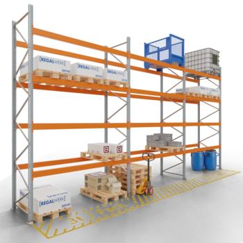 Palettenregal ARTUS - 4 Ebenen - Höhe 4.500 mm - 1.100 x 1.100 mm (BxT) - Schwerlastregal - Anzahl Felder wählbar