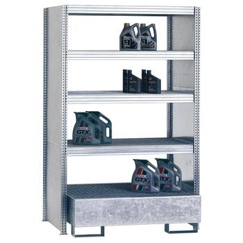 Umweltregal, Kleingebinderegal, Seitenwand, Auffangwanne 210 Liter, 2.000 x 1.285 x 800 mm (HxBxT), 3 Ebenen, erweiterbar, Steckregal BERT