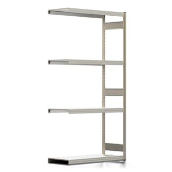 Die Abbildung zeigt das Reifenregal mit Tiefenriegel und Fachebenen Stufenbalken. Der Inhalt des Regales dient nur der Veranschaulichung und gehört nicht zum Lieferumfang