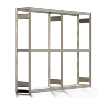 Räderregal mit Tiefenriegel - 250 kg - 2.000 x 2.626 x 400 mm (HxBxT) - 3 Ebenen - 2 Felder Komplettregal - Steckregal BERT
