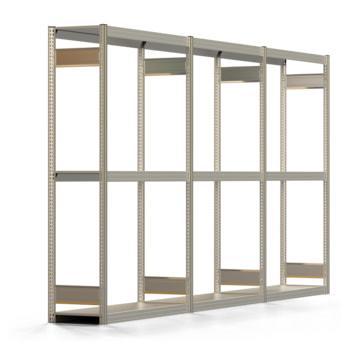 Räderregal mit Tiefenriegel - 250 kg - 2.000 x 3.911 x 400 mm (HxBxT) - 3 Ebenen - 3 Felder Komplettregal - Steckregal BERT