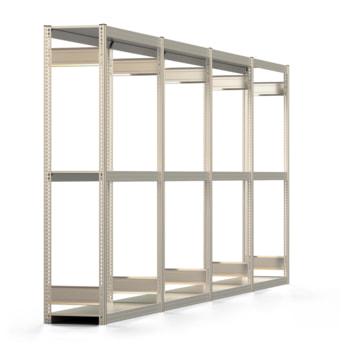 Räderregal mit Tiefenriegel - 250 kg - 2.000 x 5.196 x 400 mm (HxBxT) - 3 Ebenen - 4 Felder Komplettregal - Steckregal BERT