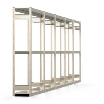 Räderregal mit Tiefenriegel - 250 kg - 2.000 x 6.481 x 400 mm (HxBxT) - 3 Ebenen - 5 Felder - Komplettregal - Steckregal BERT
