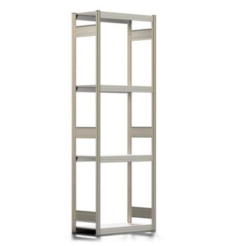 Räderregal mit Tiefenriegel - 250 kg - 2.500 x 875 x 400 mm (HxBxT) - 4 Ebenen - erweiterbar - Steckregal BERT