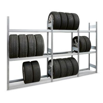 Räderregal mit Tiefenriegel - 250 kg - 2.500 x 875 x 500 mm (HxBxT) - 4 Ebenen - erweiterbar - Steckregal BERT