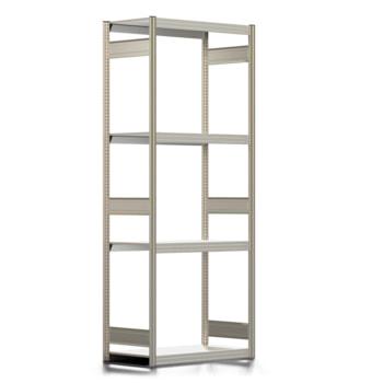 Räderregal mit Tiefenriegel - 250 kg - 2.500 x 1.005 x 500 mm (HxBxT) - 4 Ebenen - erweiterbar - Steckregal BERT
