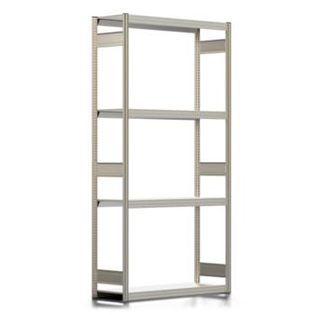 Räderregal mit Tiefenriegel - 250 kg - 2.500 x 1.285 x 400 mm (HxBxT) - 4 Ebenen - erweiterbar - Steckregal BERT