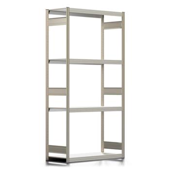 Räderregal mit Tiefenriegel - 250 kg - 2.500 x 1.285 x 500 mm (HxBxT) - 4 Ebenen - erweiterbar - Steckregal BERT