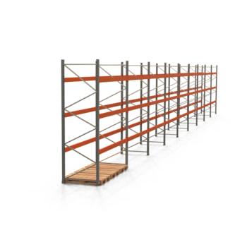 Palettenregal ARTUS - Regalreihe, 9 Felder - Fachlast 3.000 kg - Feldlast 9.000 kg - 3.500 x 25.150 x 1.100 mm (HxBxT) - Schwerlastregal