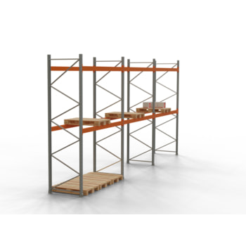 Palettenregal ARTUS - Regalreihe mit 3 Feldern - Fachlast 3.000 kg - 4.000 x 8.440 x 1.100 mm (HxBxT) - Schwerlastregal