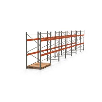 Palettenregal ARTUS - Regalreihe mit 7 Feldern - Fachlast 3.000 kg - 2.500 x 13.980 x 1.100 mm (HxBxT) - Schwerlastregal