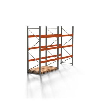 Palettenregal ARTUS - Regalreihe, 2 Felder - Fachlast 3.000 kg - Feldlast 9.000 kg - 3.000 x 4.055 x 1.100 mm (HxBxT) - Schwerlastregal