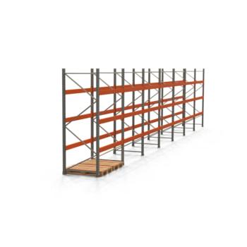 Palettenregal ARTUS - Regalreihe, 7 Felder - Fachlast 3.000 kg - Feldlast 9.000 kg - 3.000 x 13.980 x 1.100 mm (HxBxT) - Schwerlastregal