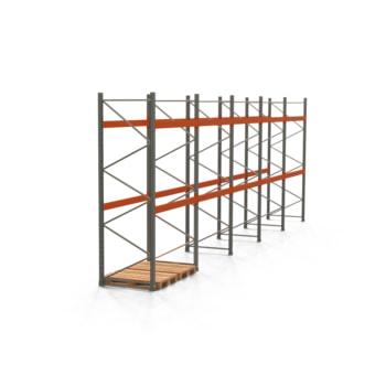 Palettenregal ARTUS - Regalreihe mit 5 Feldern - Fachlast 3.000 kg - 3.500 x 10.010 x 1.100 mm (HxBxT) - Schwerlastregal