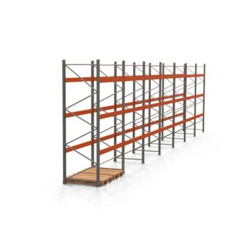 Palettenregal ARTUS - Regalreihe, 7 Felder - Fachlast 3.000 kg - Feldlast 9.000 kg - 3.500 x 13.980 x 1.100 mm (HxBxT) - Schwerlastregal