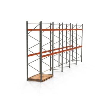 Palettenregal ARTUS - Regalreihe mit 5 Feldern - Fachlast 3.000 kg - 4.000 x 10.010 x 1.100 mm (HxBxT) - Schwerlastregal