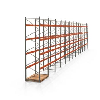 Palettenregal ARTUS - Regalreihe, 13 Felder - Fachlast 3.000 kg - Feldlast 12.000 kg - 4.500 x 25.890 x 1.100 mm (HxBxT) - Schwerlastregal