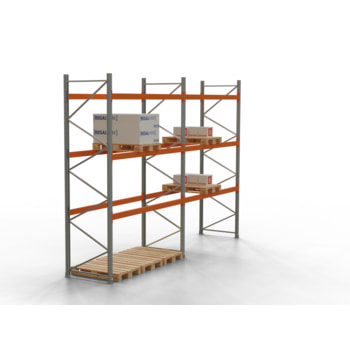 Palettenregal ARTUS - Regalreihe, 2 Felder - Fachlast 2.000 kg - Feldlast 6.000 kg - 4.000 x 5.655 x 1.100 mm (HxBxT) - Schwerlastregal
