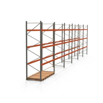 Palettenregal ARTUS - Regalreihe, 6 Felder - Fachlast 2.000 kg - Feldlast 6.000 kg - 4.000 x 16.795 x 1.100 mm (HxBxT) - Schwerlastregal