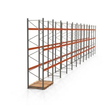Palettenregal ARTUS - Regalreihe, 12 Felder - Fachlast 3.000 kg - Feldlast 9.000 kg - 4.500 x 23.905 x 1.100 mm (HxBxT) - Schwerlastregal