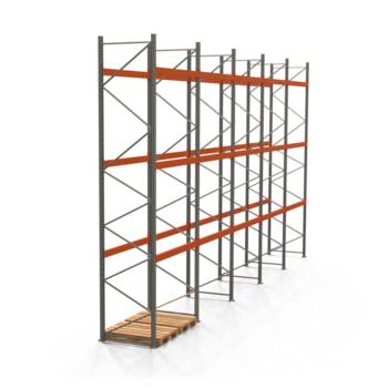 Palettenregal ARTUS - Regalreihe, 5 Felder - Fachlast 3.000 kg - Feldlast 9.000 kg - 5.500 x 10.010 x 1.100 mm (HxBxT) - Schwerlastregal