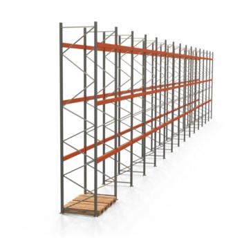 Palettenregal ARTUS - Regalreihe, 15 Felder - Fachlast 3.000 kg - Feldlast 9.000 kg - 5.500 x 29.860 x 1.100 mm (HxBxT) - Schwerlastregal