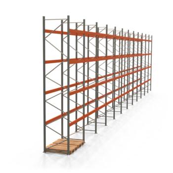 Palettenregal ARTUS - Regalreihe, 12 Felder - Fachlast 2.600 kg - Feldlast 10.400 kg - 5.500 x 23.905 x 1.100 mm (HxBxT) - Schwerlastregal