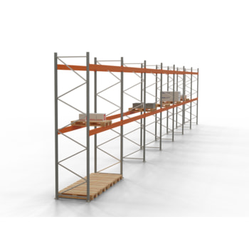 Palettenregal ARTUS - Regalreihe, 7 Felder - Fachlast 4.000 kg - Feldlast 8.000 kg - 4.500 x 25.880 x 1.100 mm (HxBxT) - Schwerlastregal