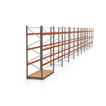 Palettenregal ARTUS - Regalreihe, 11 Felder - Fachlast 2.000 kg - Feldlast 6.000 kg - 3.500 x 30.720 x 1.100 mm (HxBxT) - Schwerlastregal