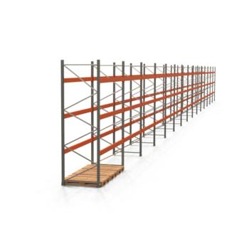 Palettenregal ARTUS - Regalreihe, 15 Felder - Fachlast 3.000 kg - Feldlast 9.000 kg - 3.500 x 41.860 x 1.100 mm (HxBxT) - Schwerlastregal